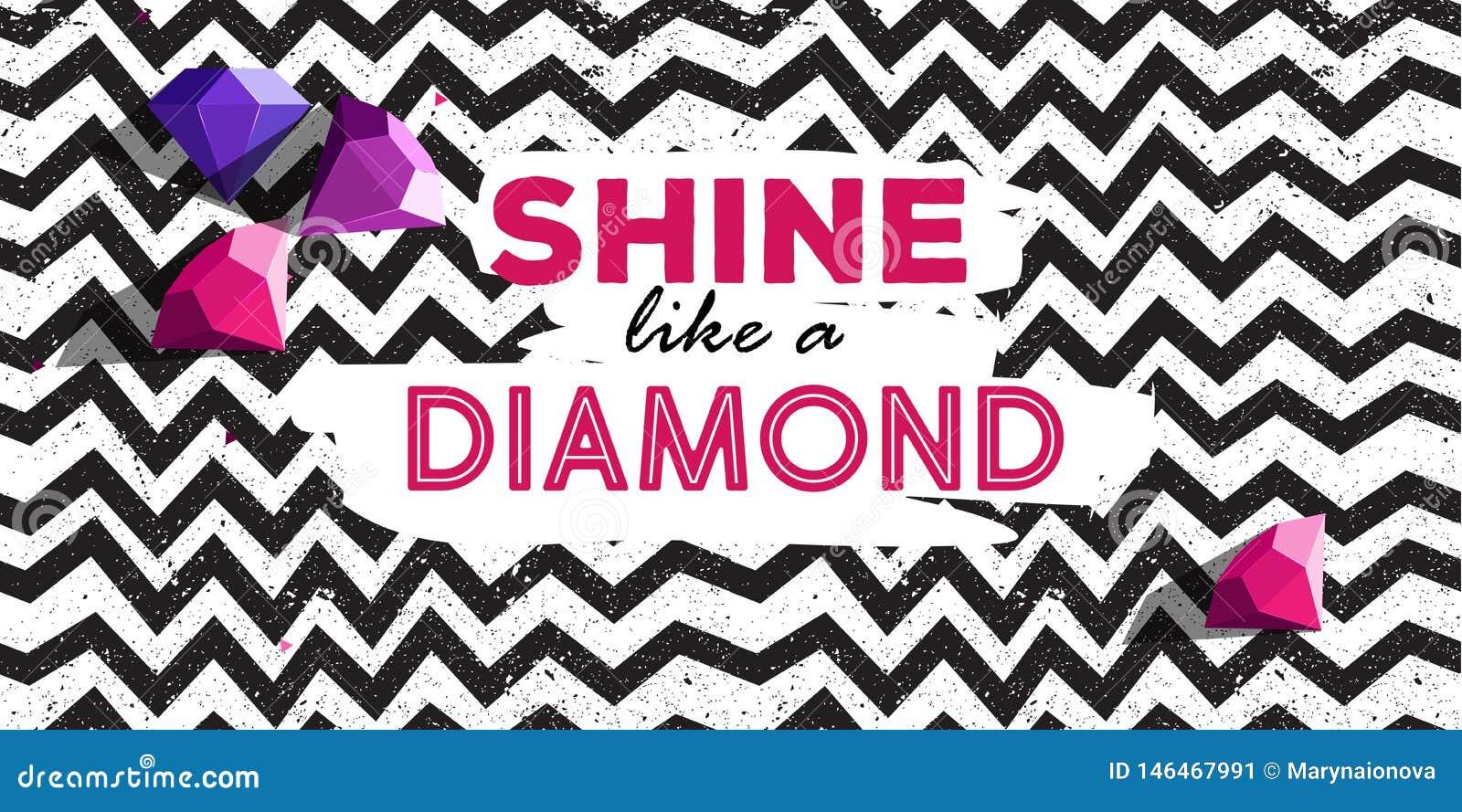 Brille como un cartel del dimond con la línea las rocas del modelo y del diamante de zigzag