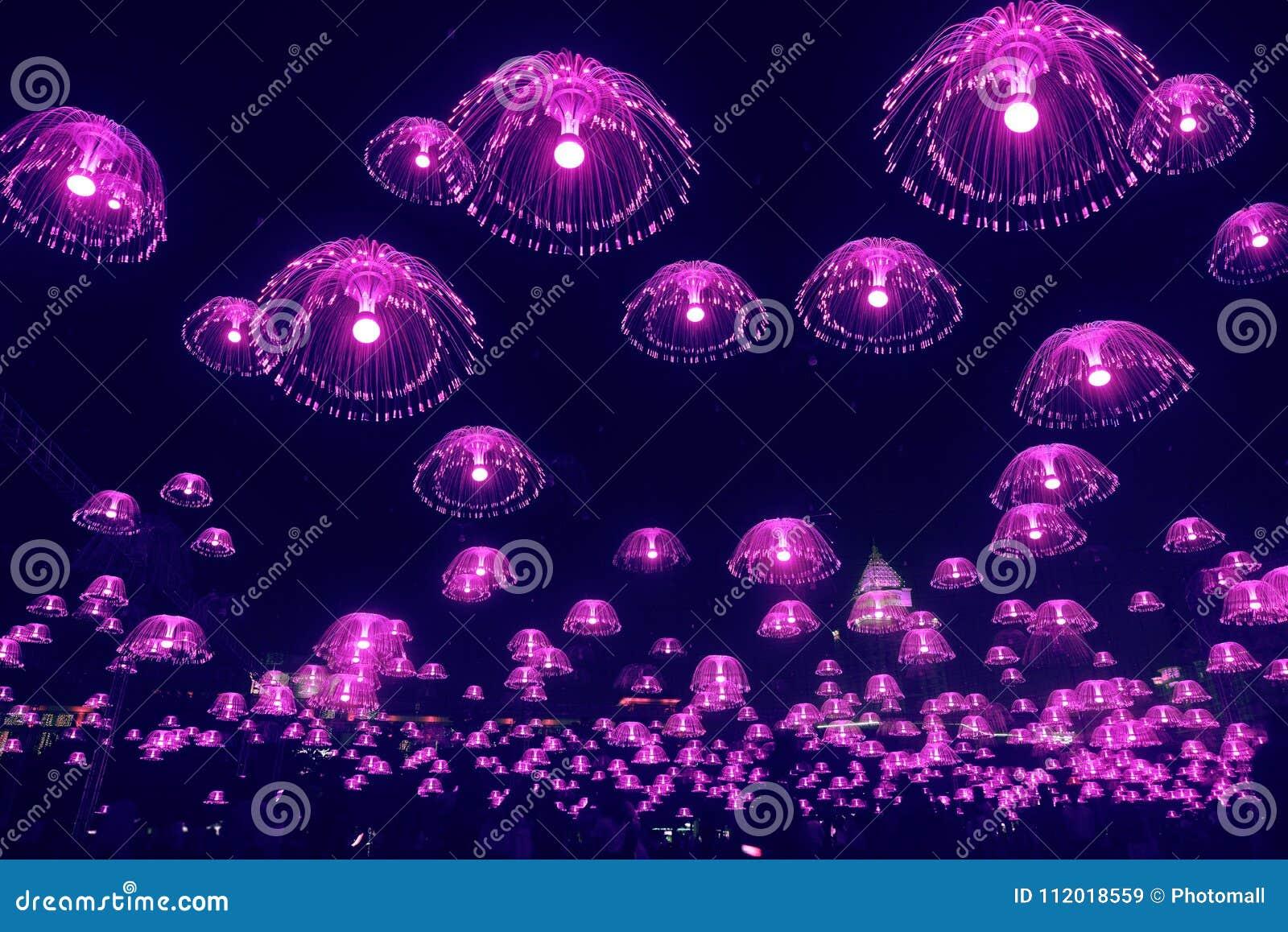 Brillo púrpura de las luces de las medusas en el cielo nocturno