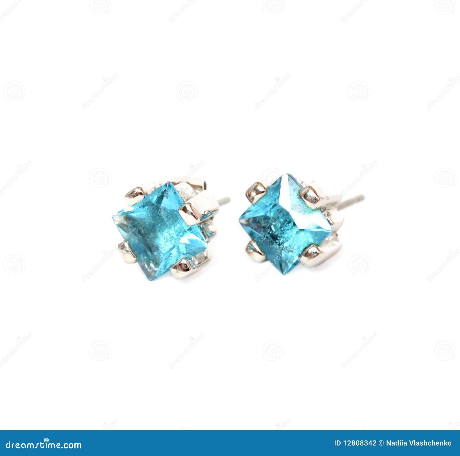 Brincos com gema azul
