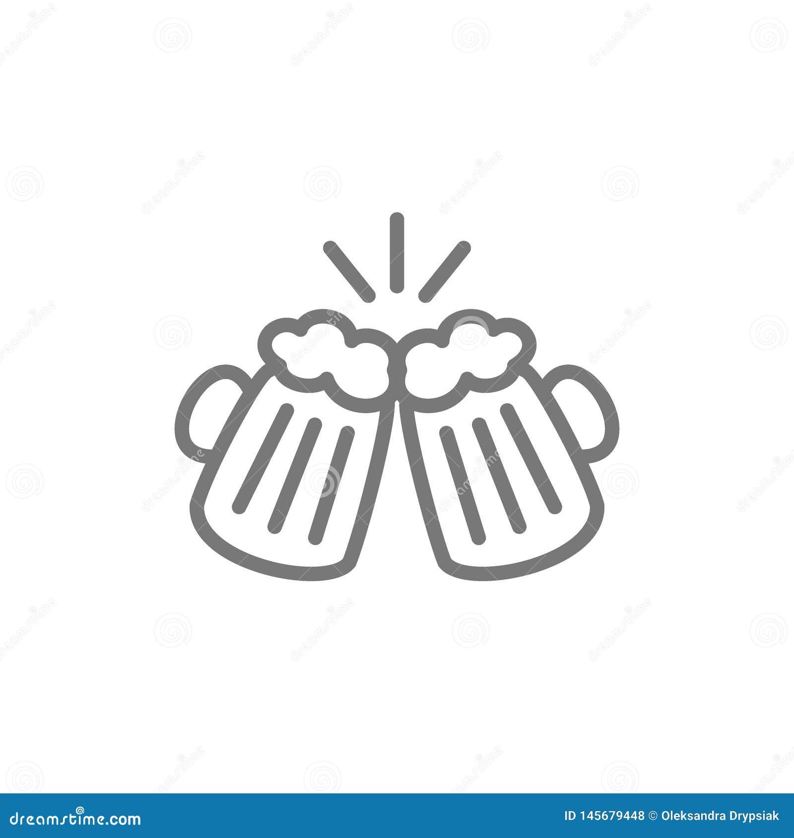 Brindando vidros de cerveja, os elogios alinham o ícone
