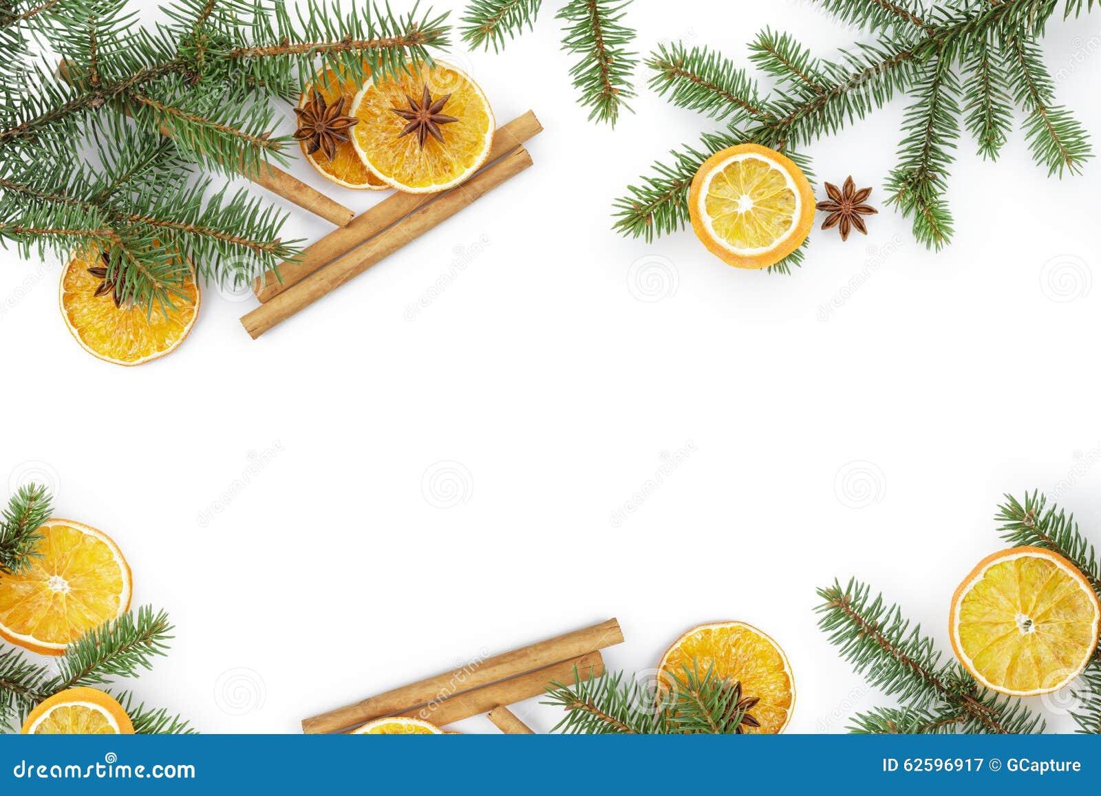 brindille de sapin avec la tranche orange s che sur le blanc photo stock image 62596917. Black Bedroom Furniture Sets. Home Design Ideas
