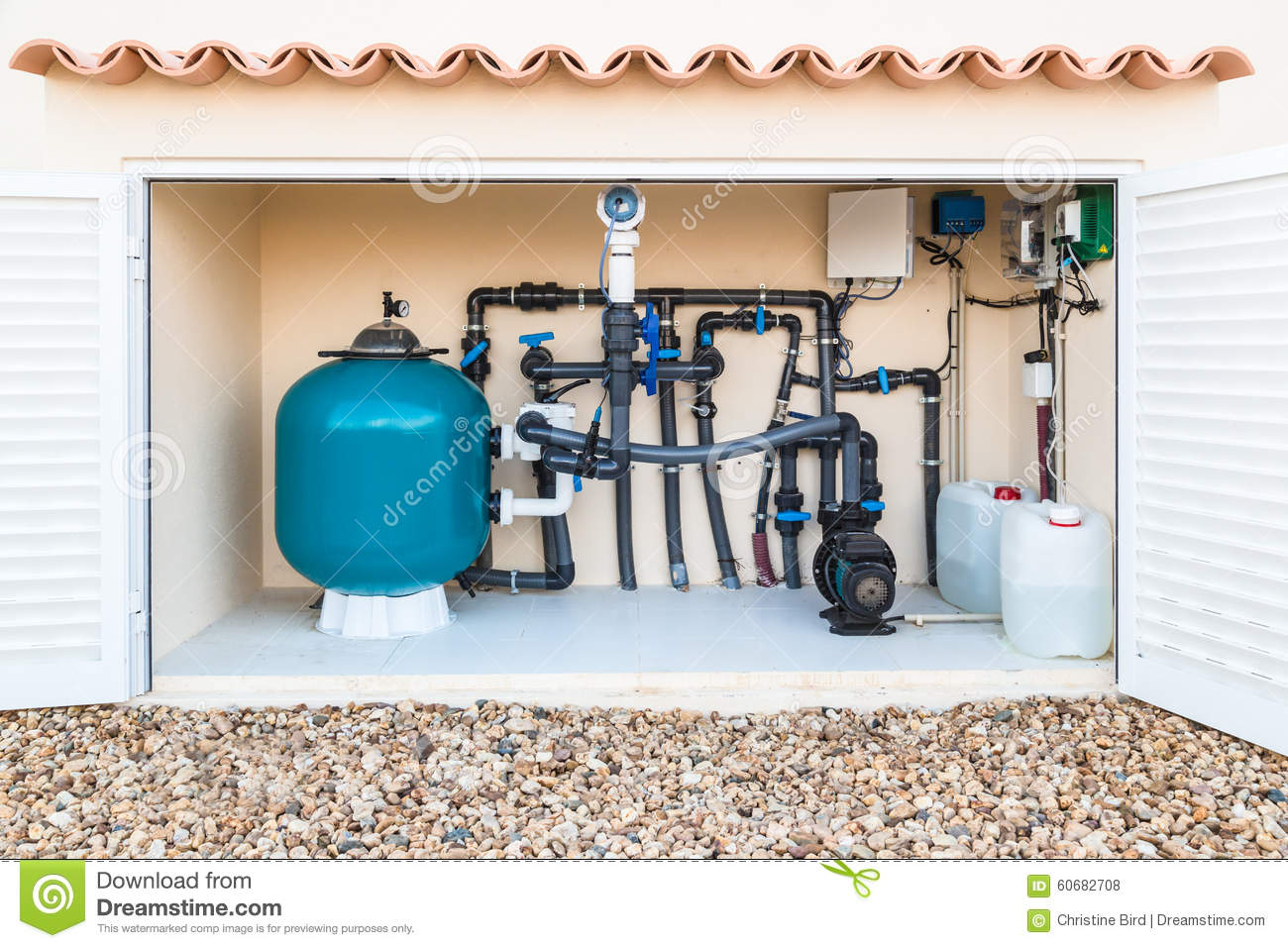 Brine Salt Water Swimming Pool Filter And Pumps Stock Photo Image 60682708