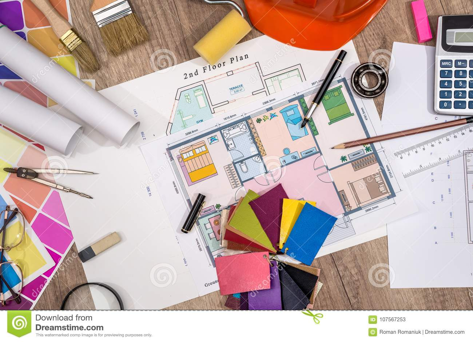 Bringen Sie Projekt mit Gebäudesturzhelm, Farbpalette unter