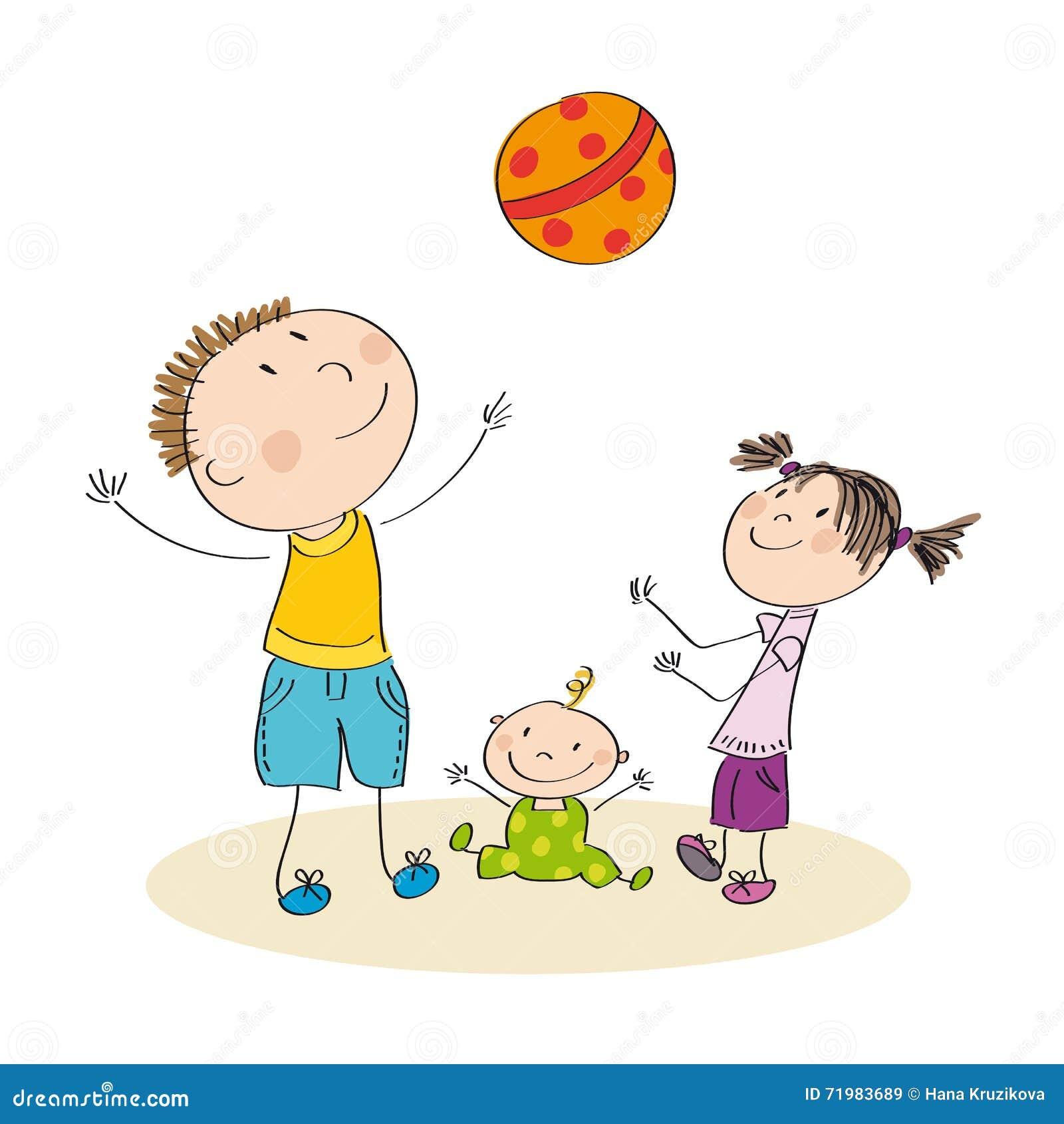 bringen sie und seine kinder hervor die mit ball die urspr ngliche gezeichnete hand spielen. Black Bedroom Furniture Sets. Home Design Ideas