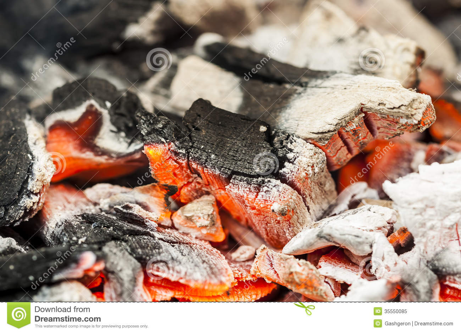 Brinnande kol.