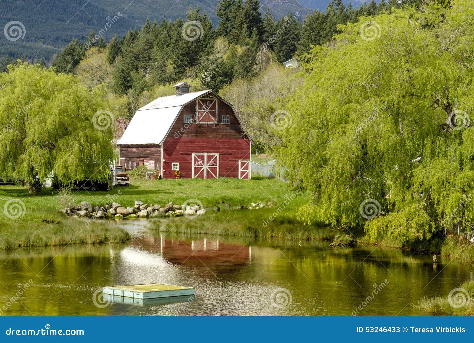 Brinnon Washington Barn By Pond Stock Image - Image of ...