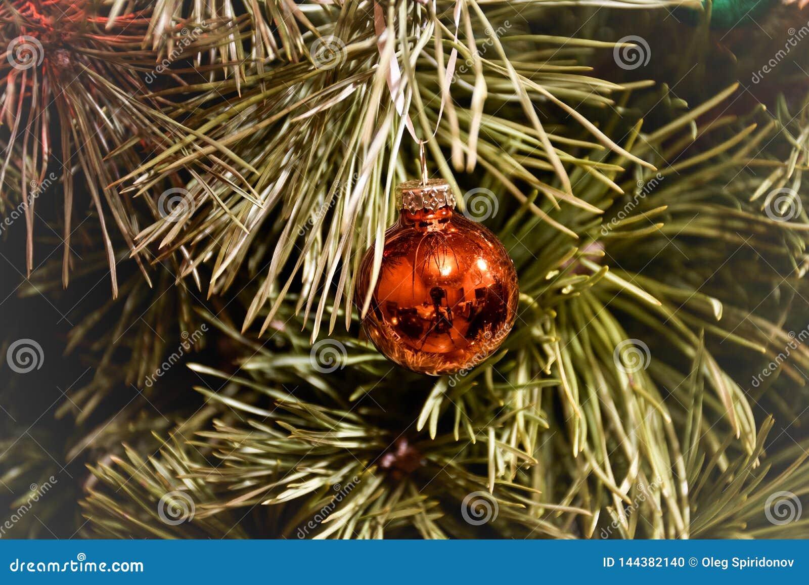 Brinquedo da árvore de Natal em um close-up do ramo