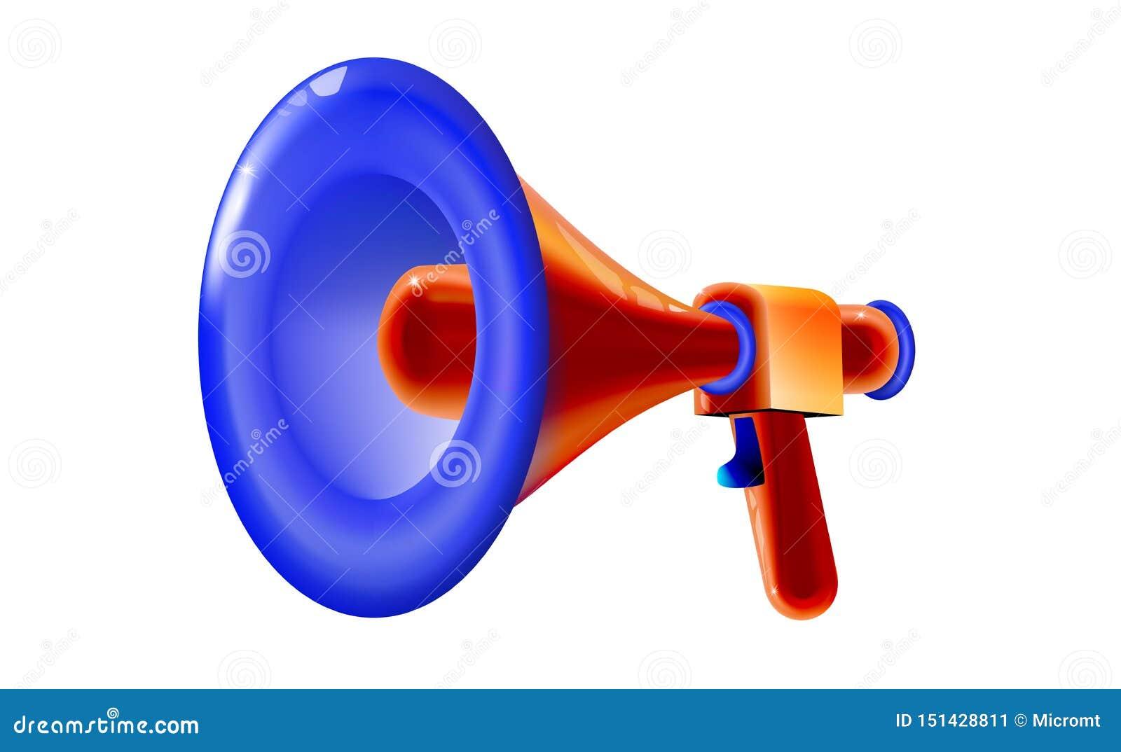 Brinquedo plástico do megafone multicolorido lustroso retro vermelho projeto do divertimento dos desenhos animados 3D, anunciando