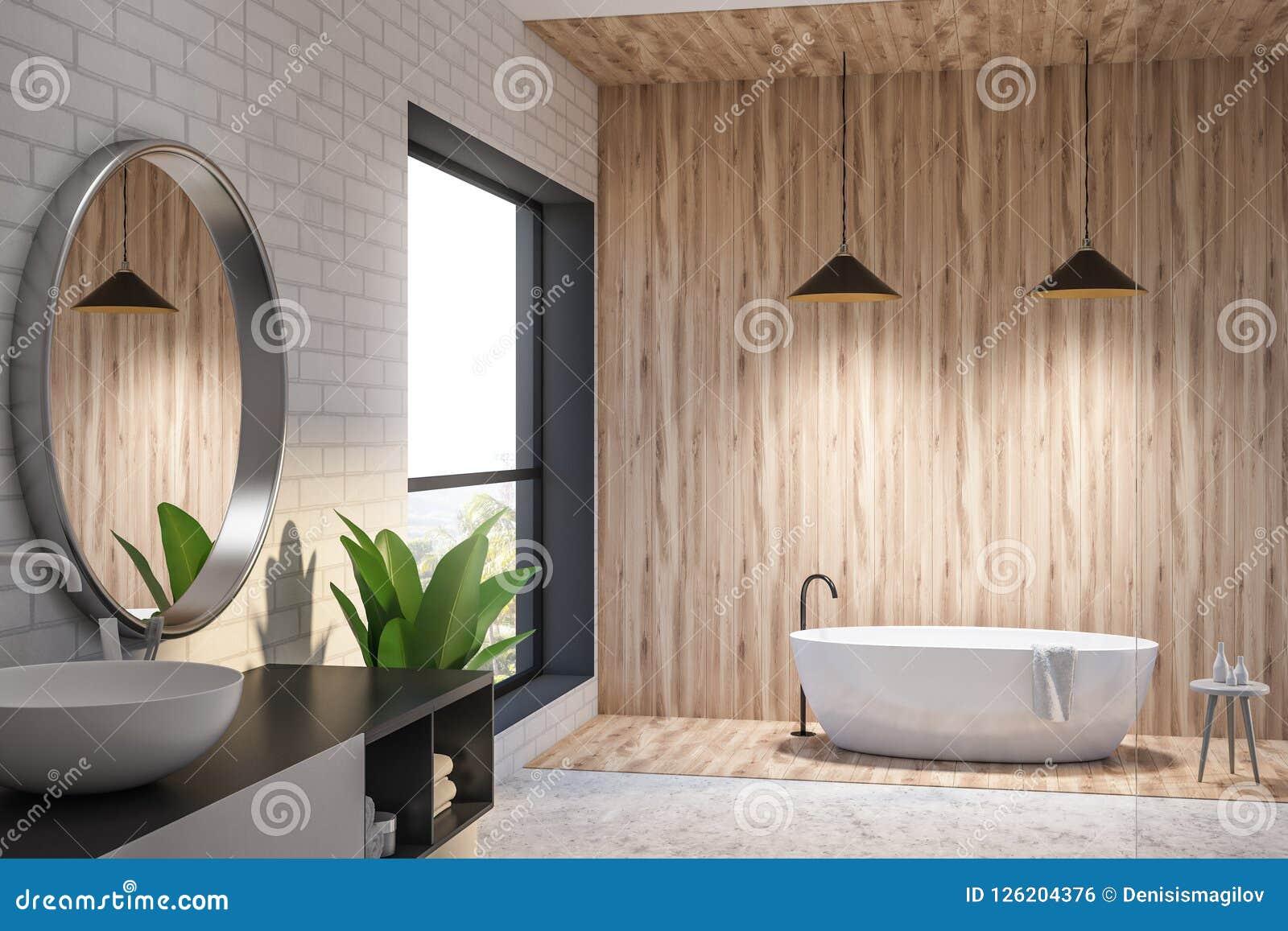Salle De Bain Brique brique et salle de bains en bois intérieures, baquet rond