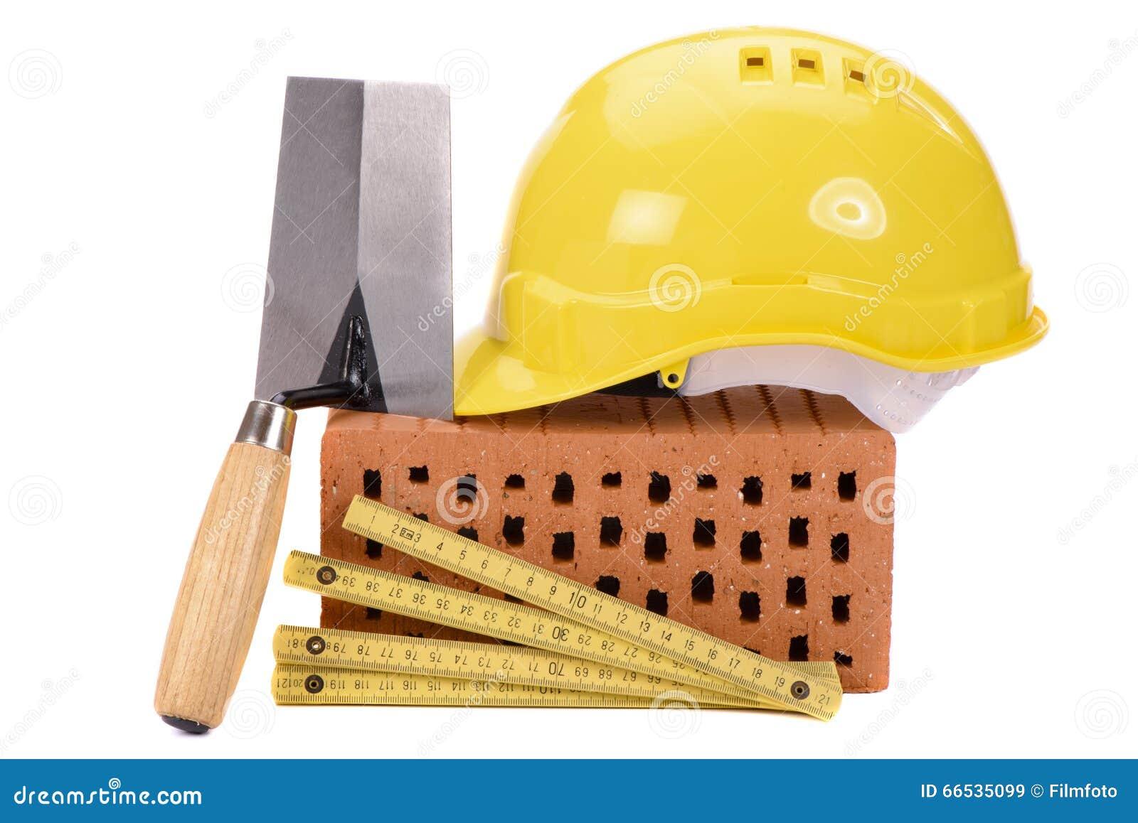 brique pour la construction et l 39 outil de maison image stock image du architecture mat riaux. Black Bedroom Furniture Sets. Home Design Ideas