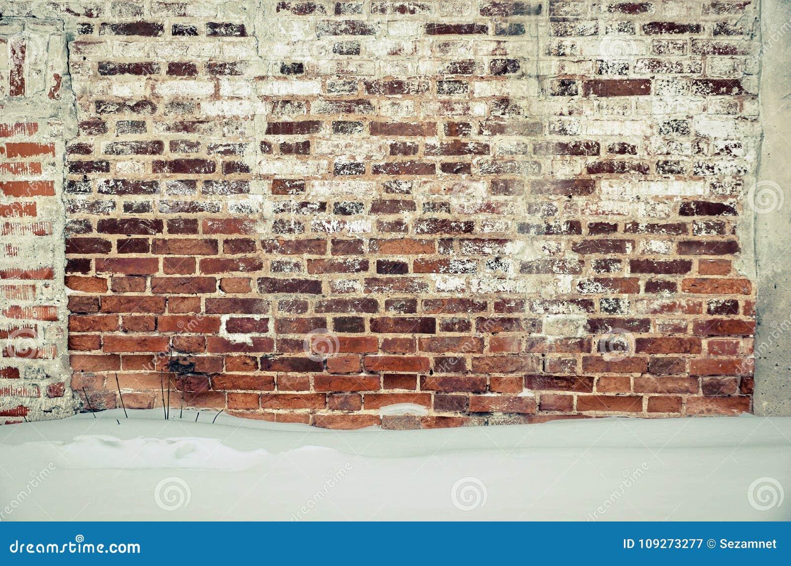 Mur En Brique Rouge brique rouge de vieux mur de briques et plâtre blanc