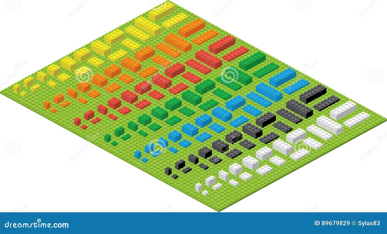 Briques colorées simples de jouet de brique d enfants sur la protection verte