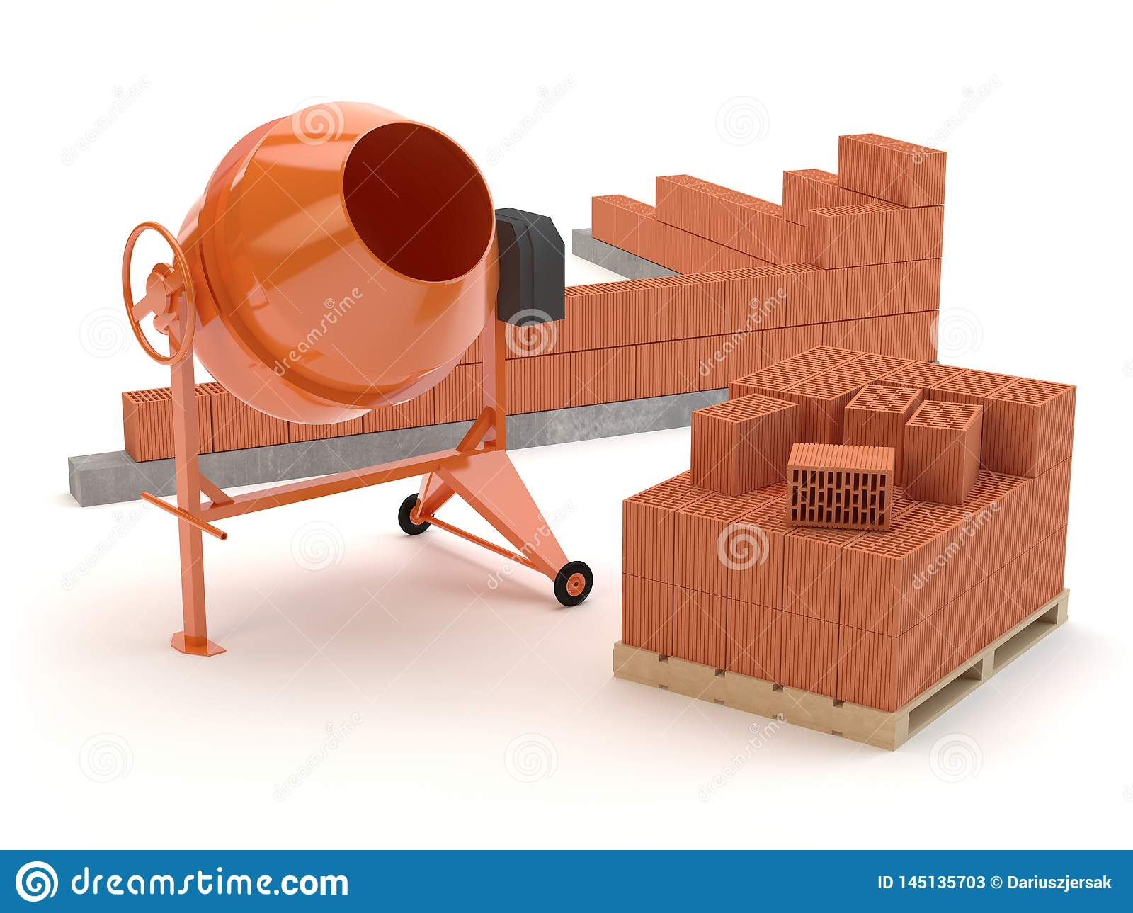 Briques et mélangeur concret, illustration 3D