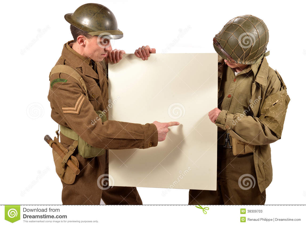Bristish and american soldier show a poster