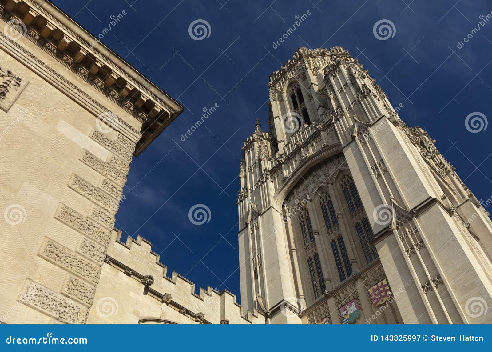 Bristol Förenade kungariket, 21st Februari 2019, Wills det minnes- byggande tornet på universitetet av Bristol