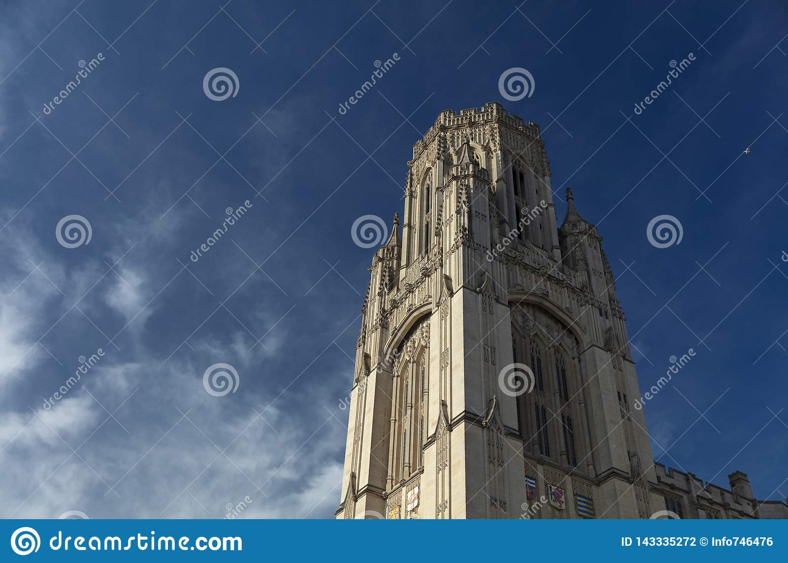Bristol, het Verenigd Koninkrijk, 21 Februari 2019, Testament Herdenkings de Bouwtoren bij de Universiteit van Bristol