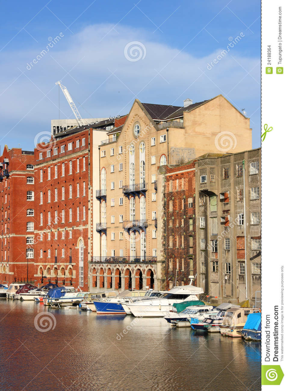 bristol boats and buildings seen from redcliffe bridge united kingdom