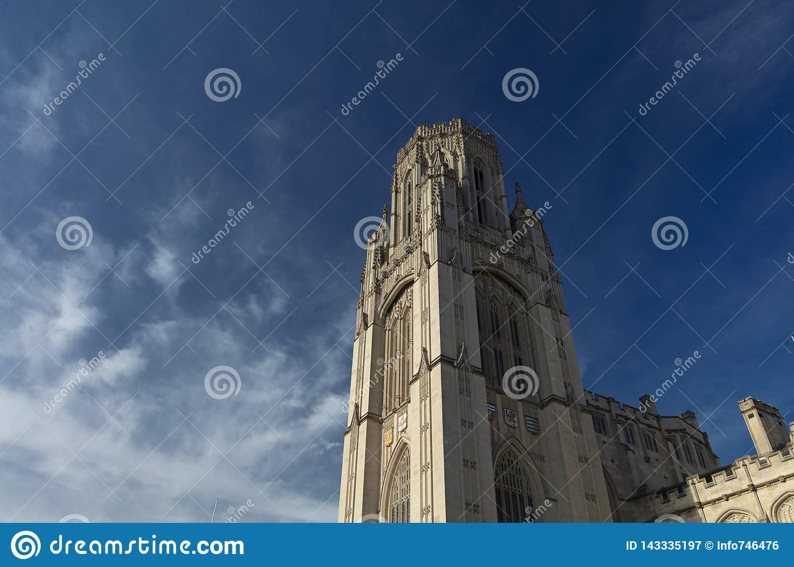 Bristol, United Kingdom, 21st February 2019, Wills Memorial Building Tower at the University of Bristol