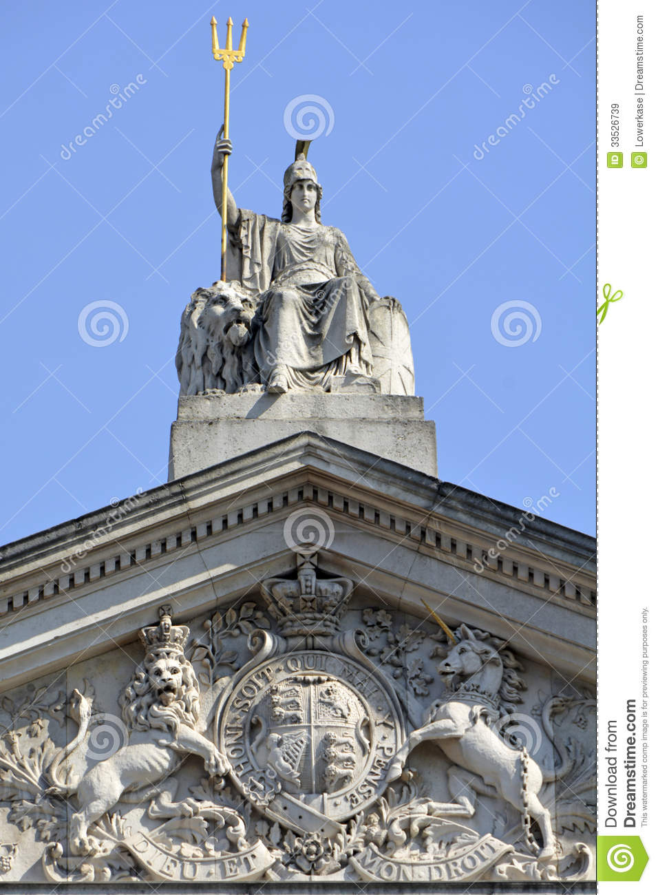 Britannia Statue And Trident With Coat Of Arms Below