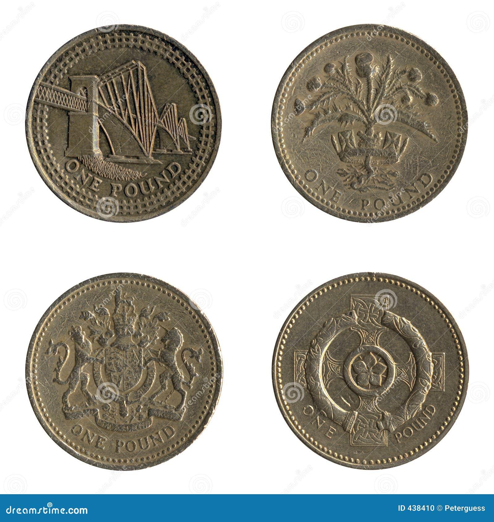 Briten Eine Pfund Münzen Rückseiten Auslegungen Stockfoto Bild Von