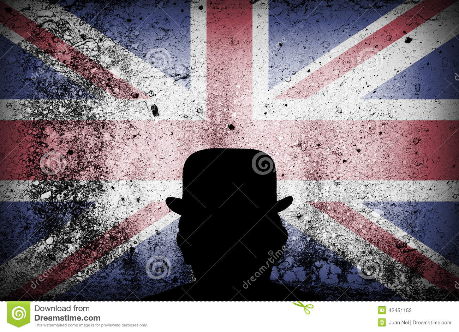 Britische Flagge auf einem Schmutz und einer Melone