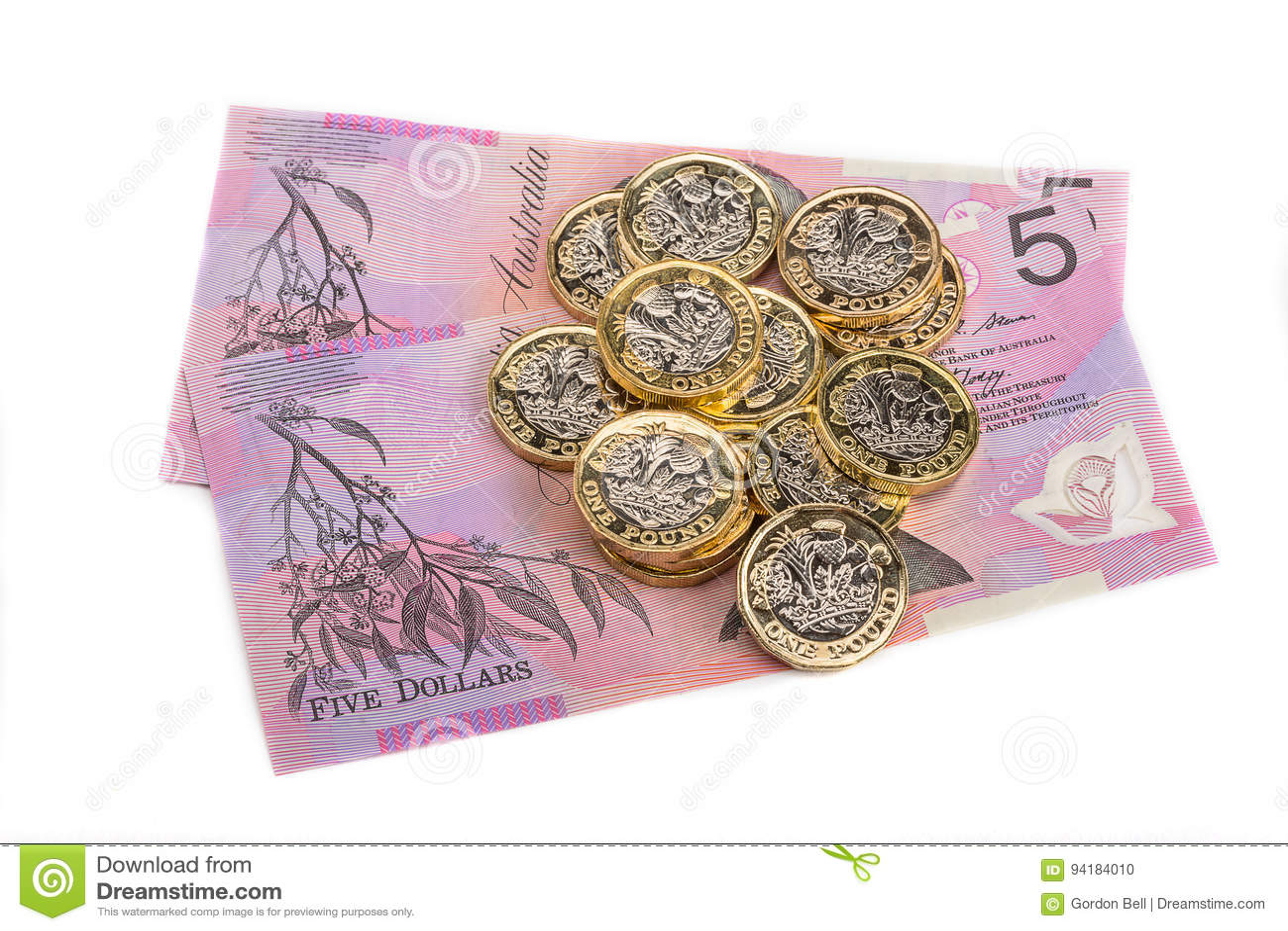 Britische Pfunde Und Australische Dollar Redaktionelles Bild Bild