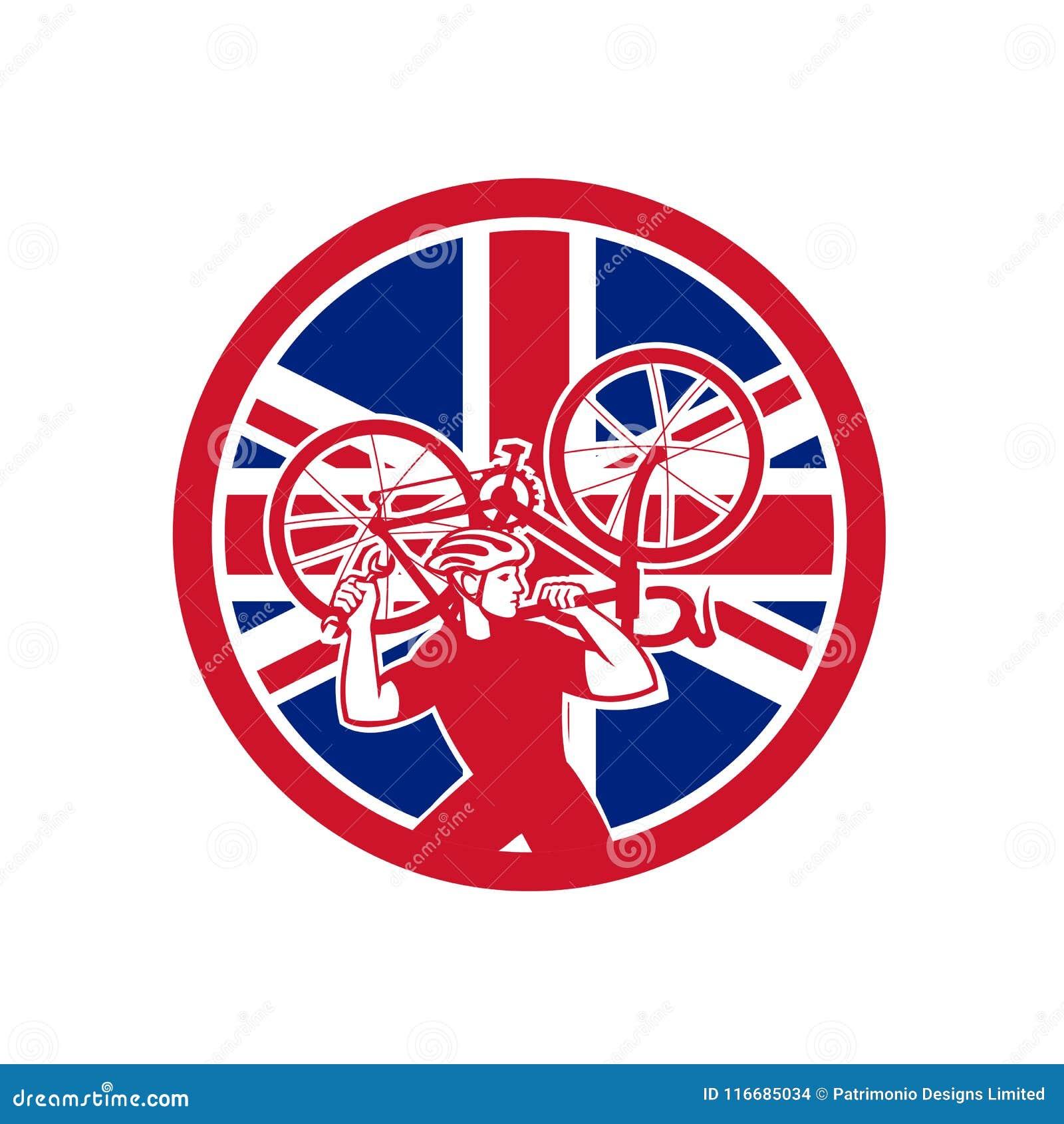 Britischer Fahrrad-Mechaniker Union Jack Flag Mascot