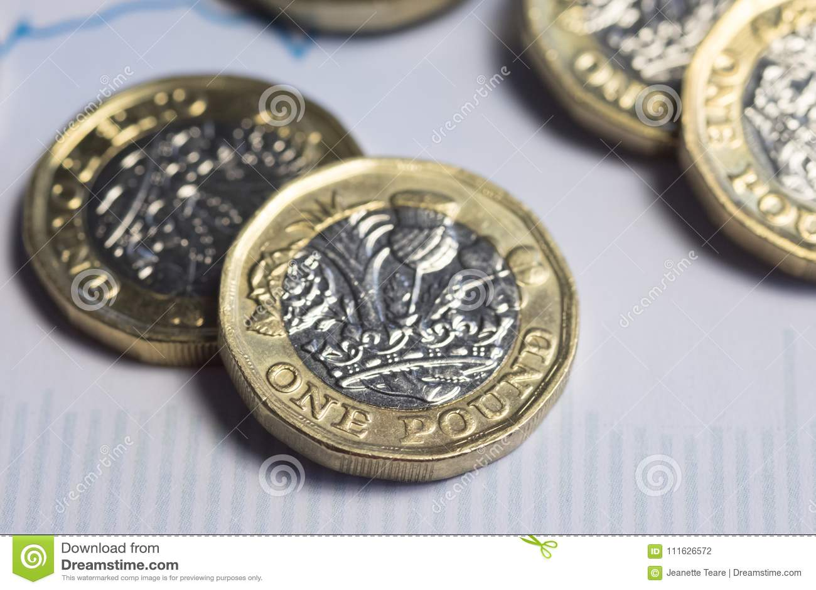 Britisches Geld Pfundmünzen Auf Finanzdiagramm Stockfoto Bild Von
