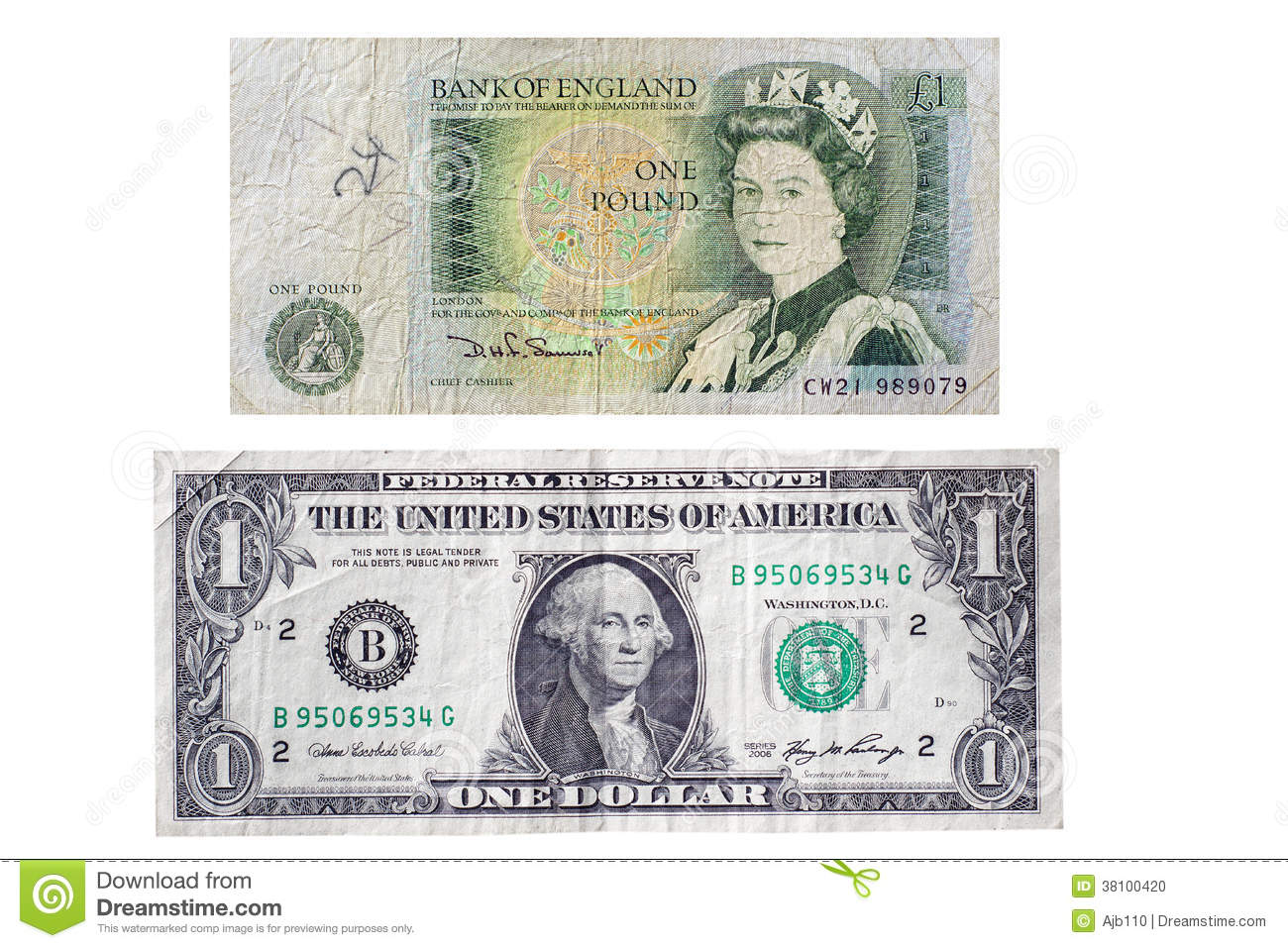 British £1 Note V US $1 Bill Editorial Image - Image of note