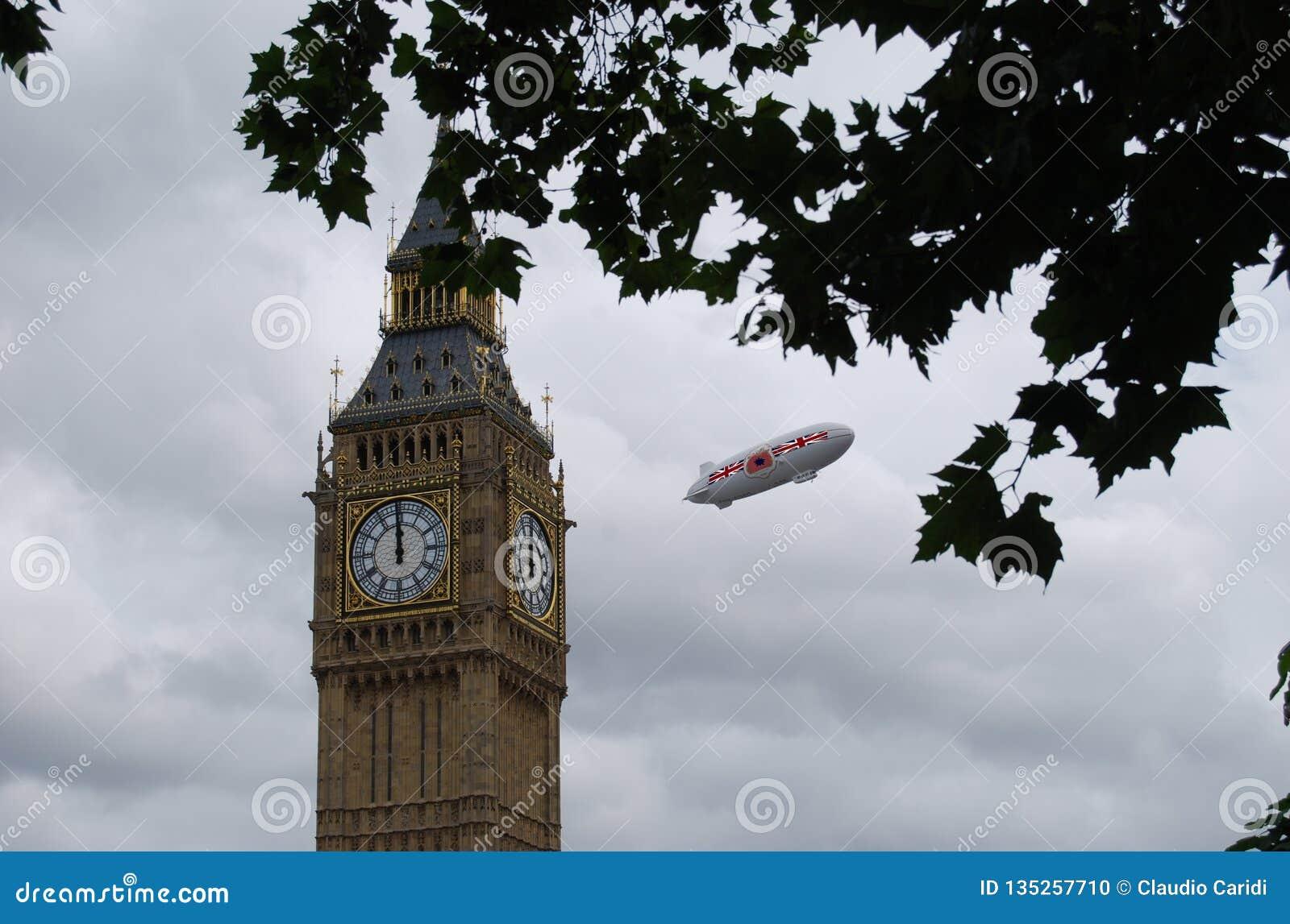 British aerostat over London near the Big Ben