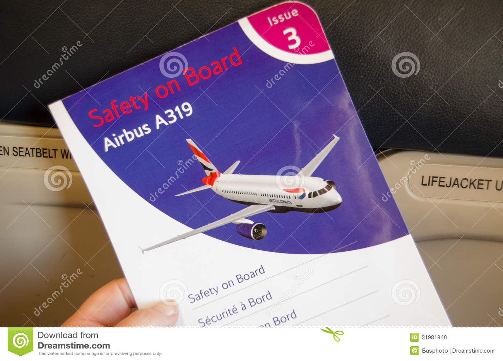 British Airways Safety Card Editorial Image - Image: 31981940