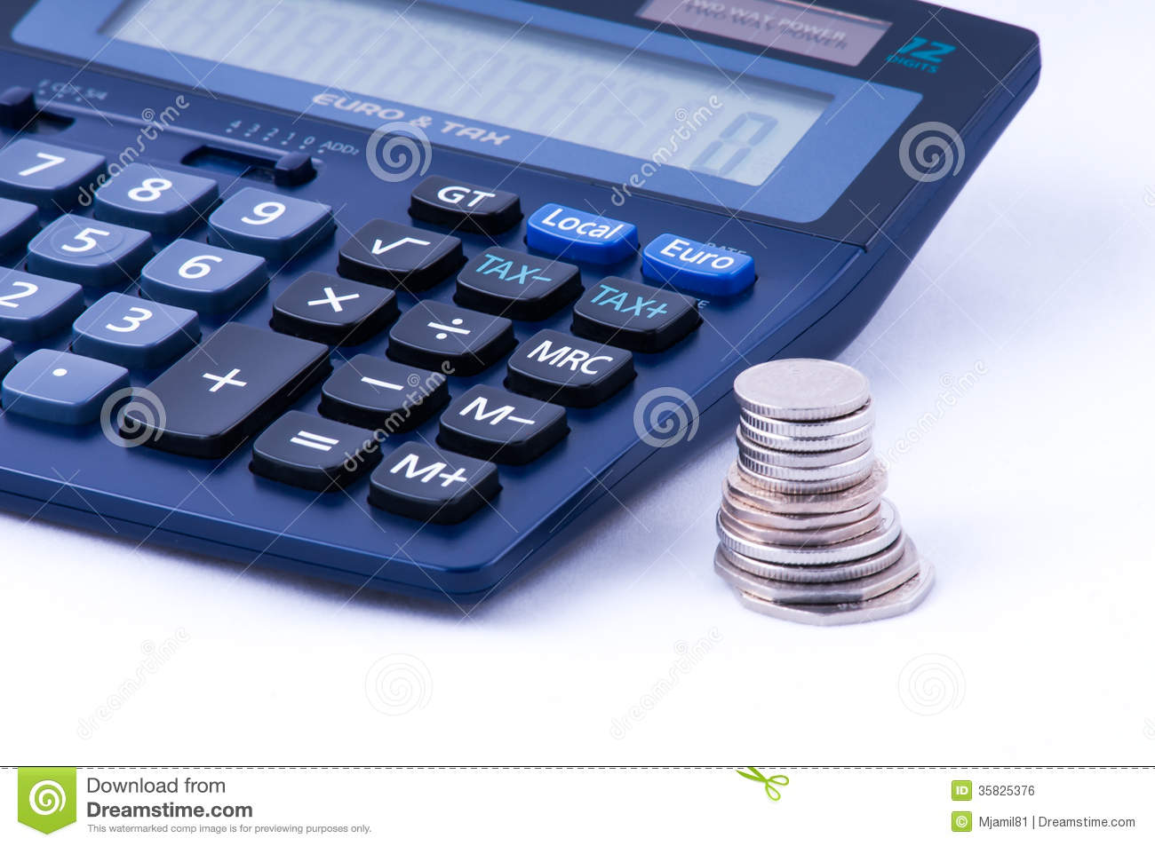 British coins and calculator with tax sign