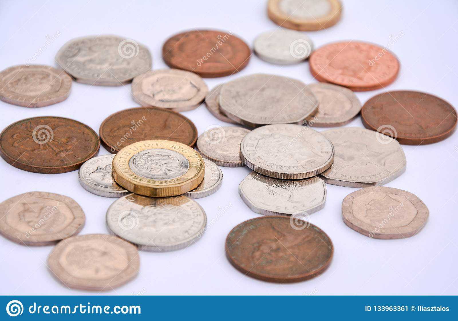 British Coins On White Background Stock Image - Image of metal, gold