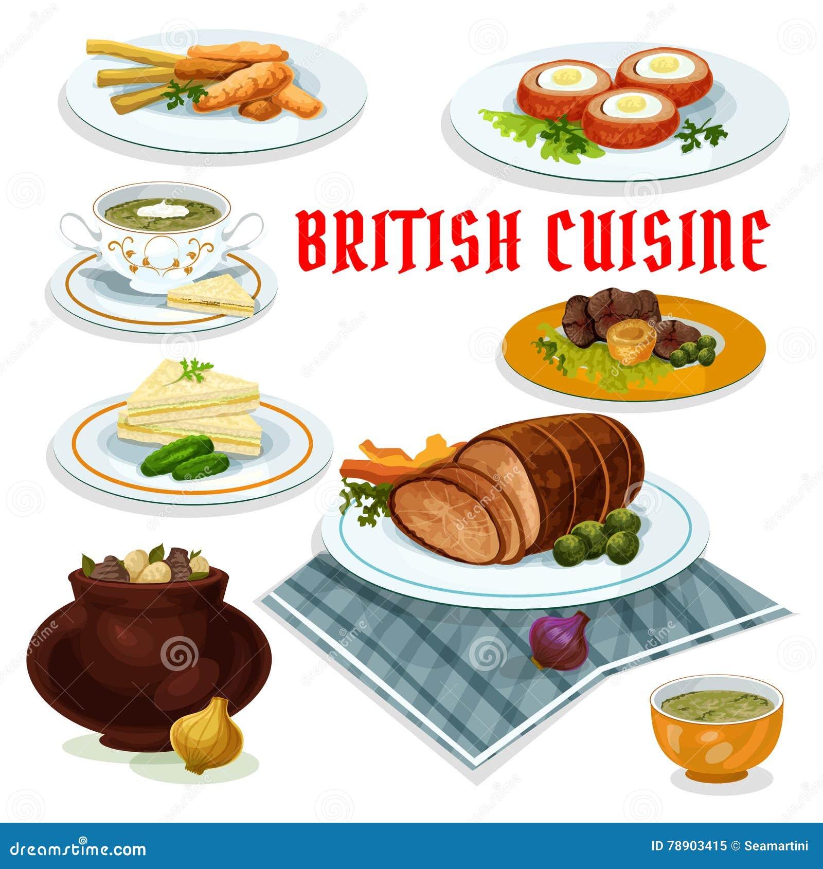 british cuisine dinner menu cartoon icon stock vector image 78903415. Black Bedroom Furniture Sets. Home Design Ideas