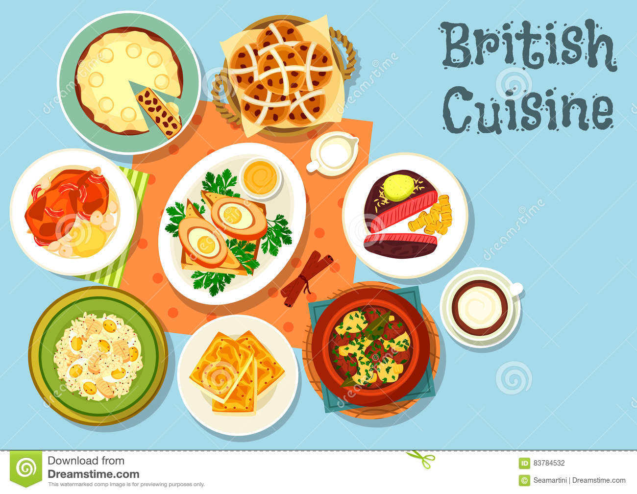 british cuisine main dishes with snack food icon stock. Black Bedroom Furniture Sets. Home Design Ideas