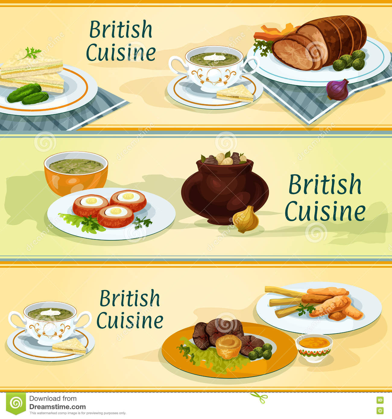 British cuisine traditional dishes for menu design stock for Fish dish menu