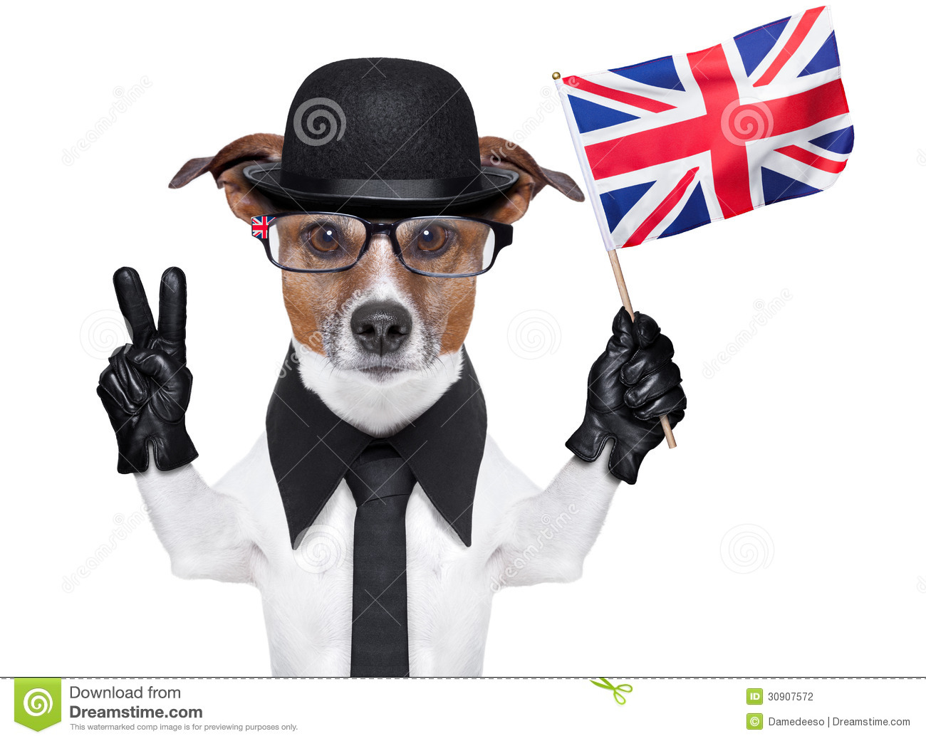 93a0d4fa93a80 British dog with black bowler hat and black suit waving flag