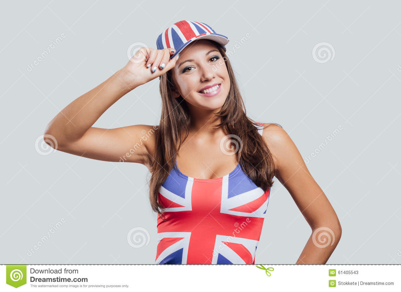 Flag with british hot girl