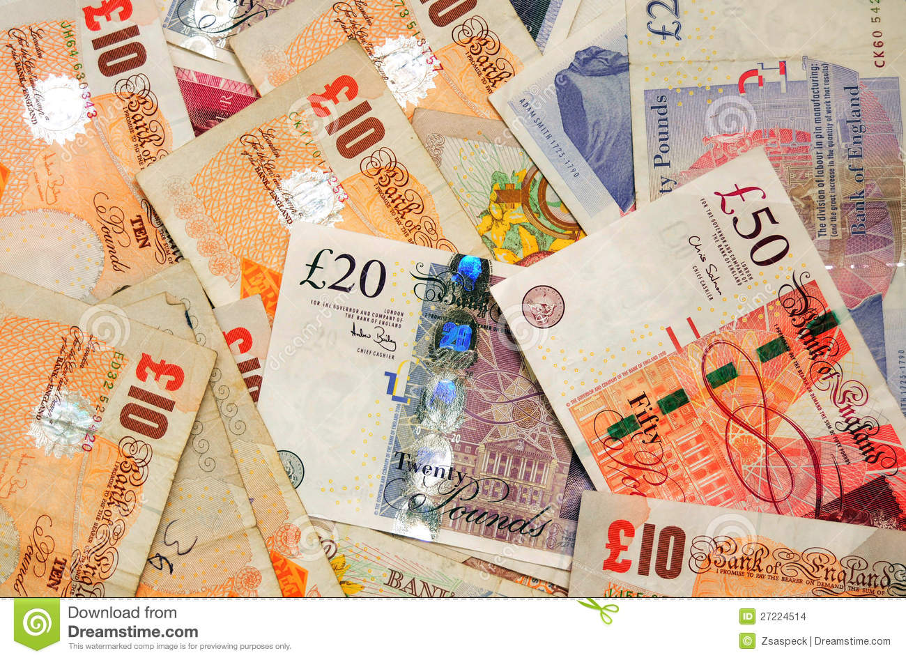 Many pound sterling bank notes closeup view business background.
