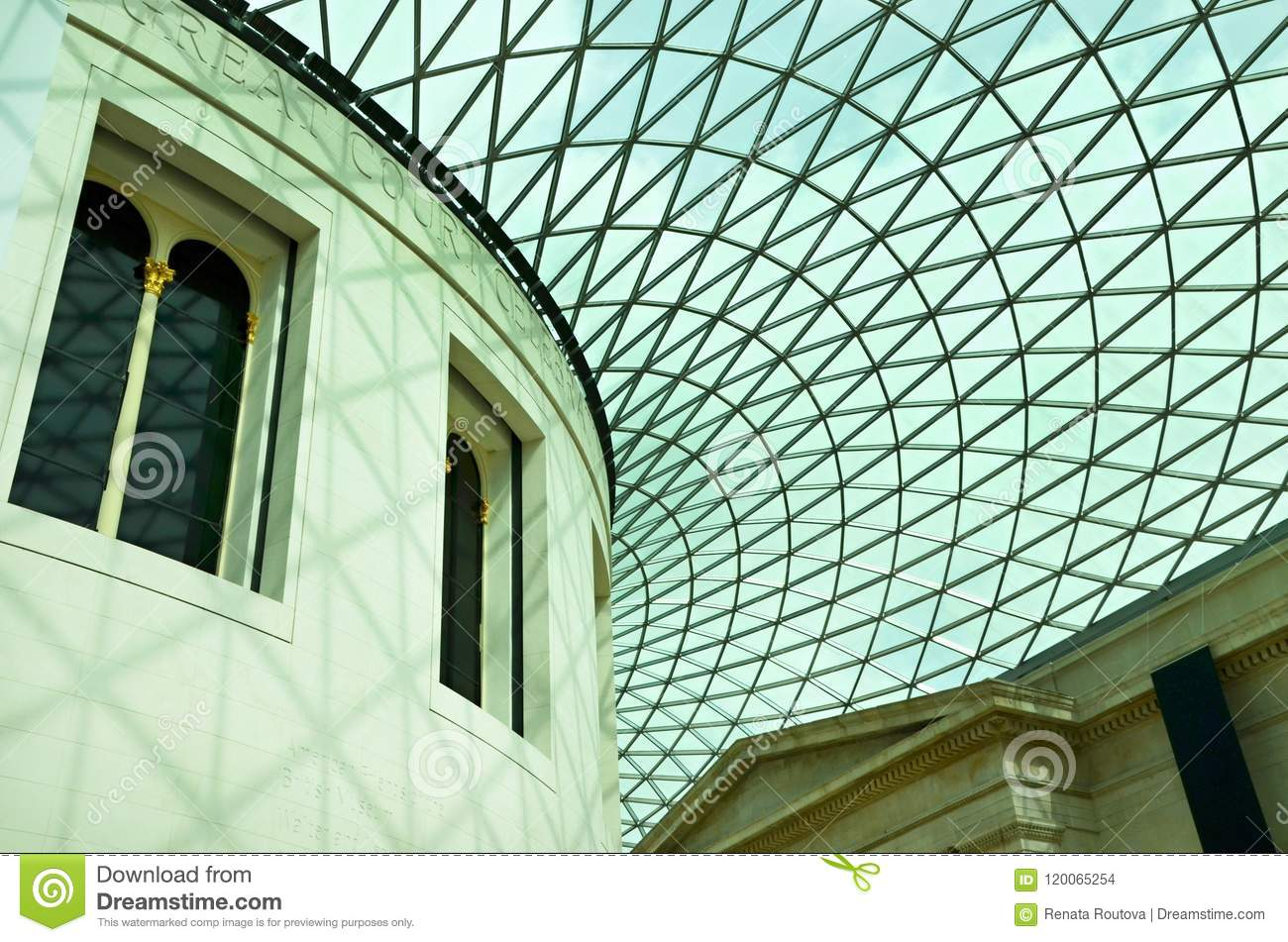 The British Museum - geometrical patterns on the roof