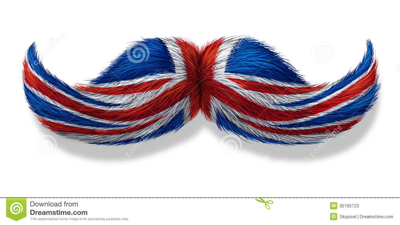British mustache symbol with the flag of Britain as an icon of a ...