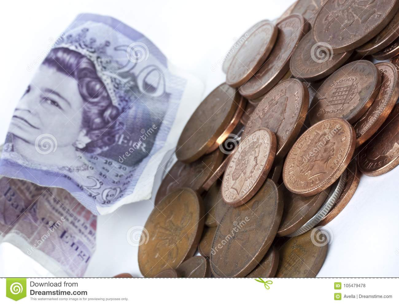 British pence  Coins editorial stock photo  Image of federal - 105479478