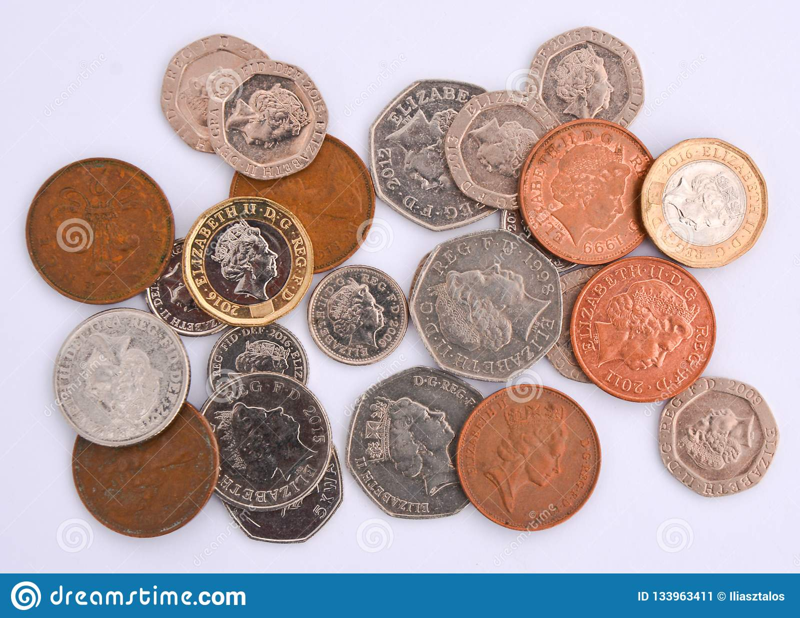 British Coins On White Background Stock Image - Image of gold, money