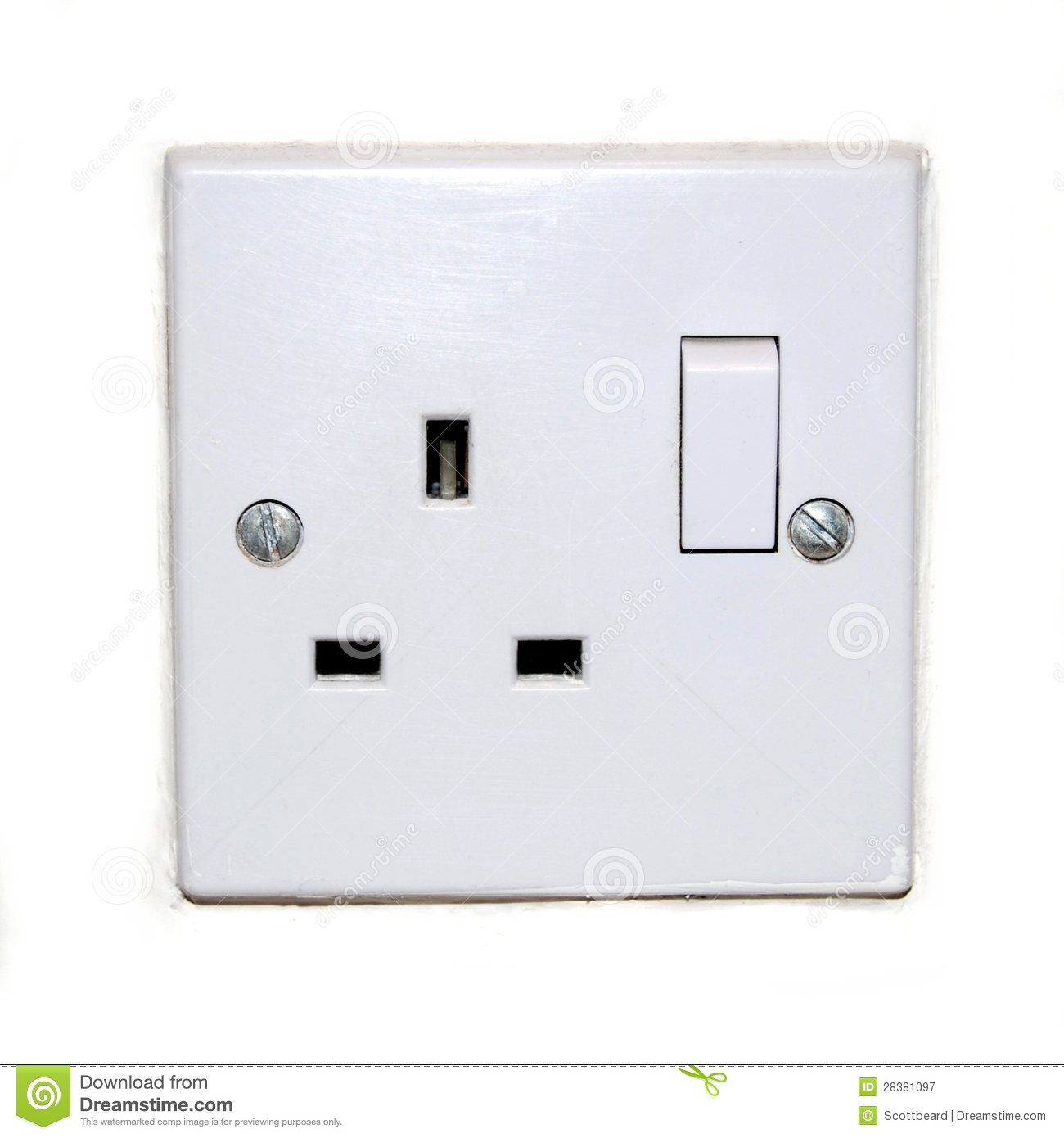 British plug socket isolated on white royalty free stock photography