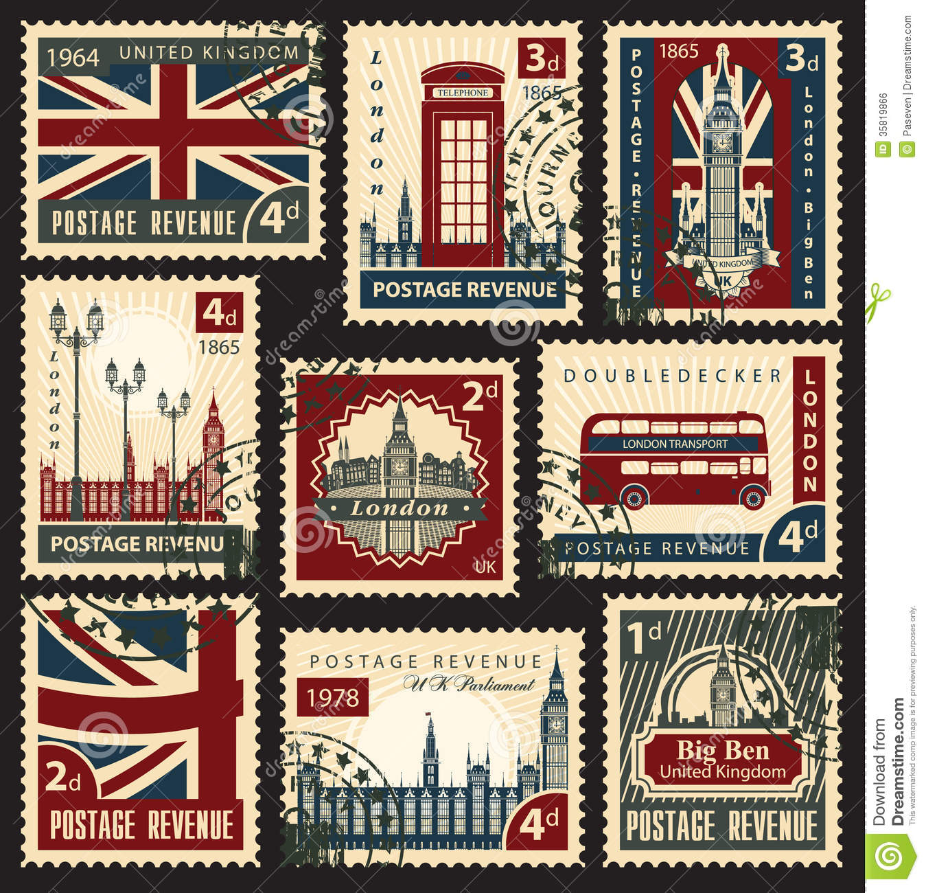 British Postage Stamps Stock Vector Illustration Of