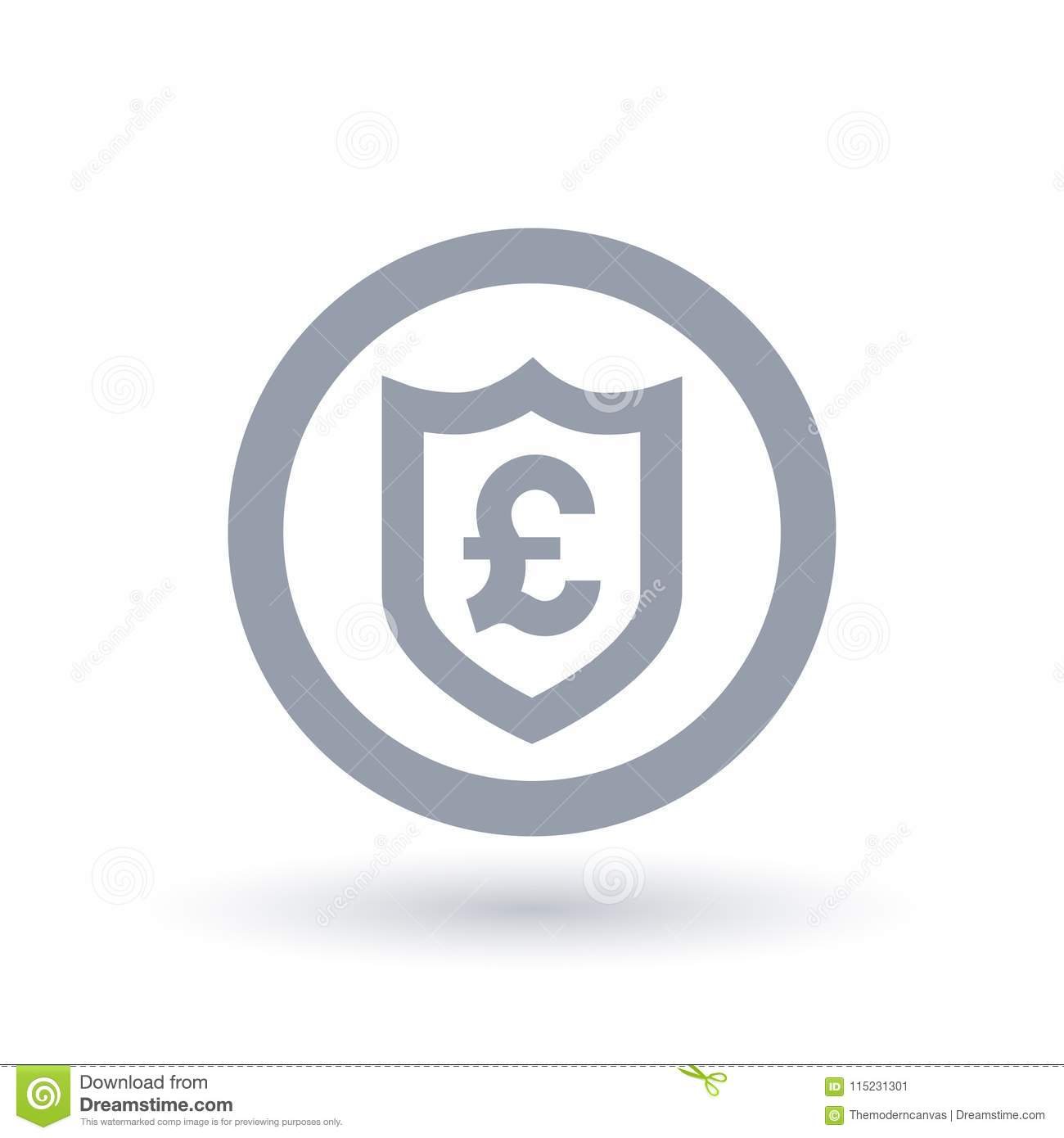 British Pound Shield Symbol Great Britain Currency Security Ic