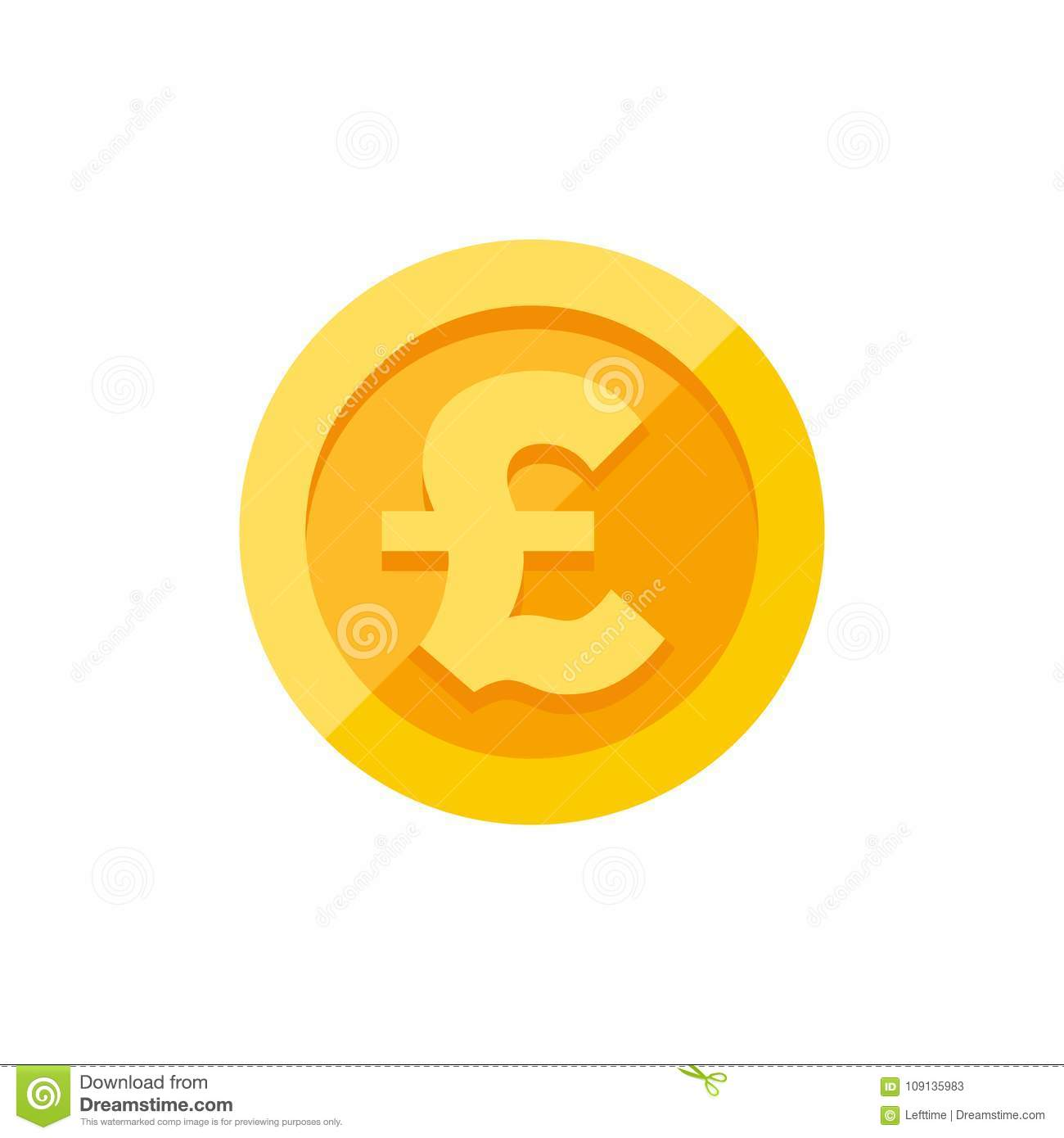 British Pound Sterling Symbol On Gold Coin Flat Style Stock Vector