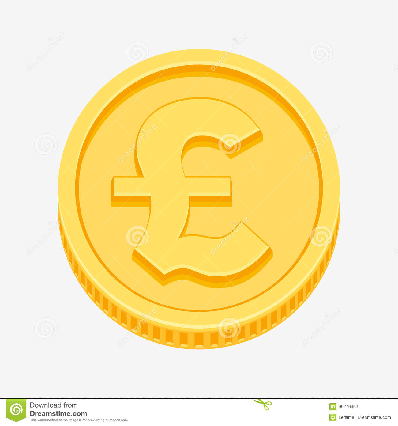 British Pound Sterling Symbol On Gold Coin Stock Vector