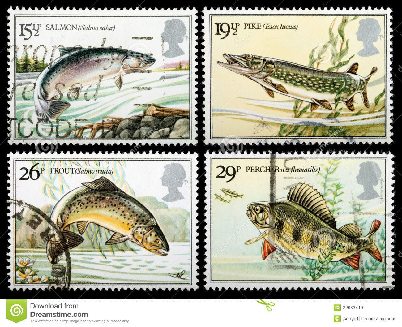 British river fish postage stamps royalty free stock for Fish symboled stamp