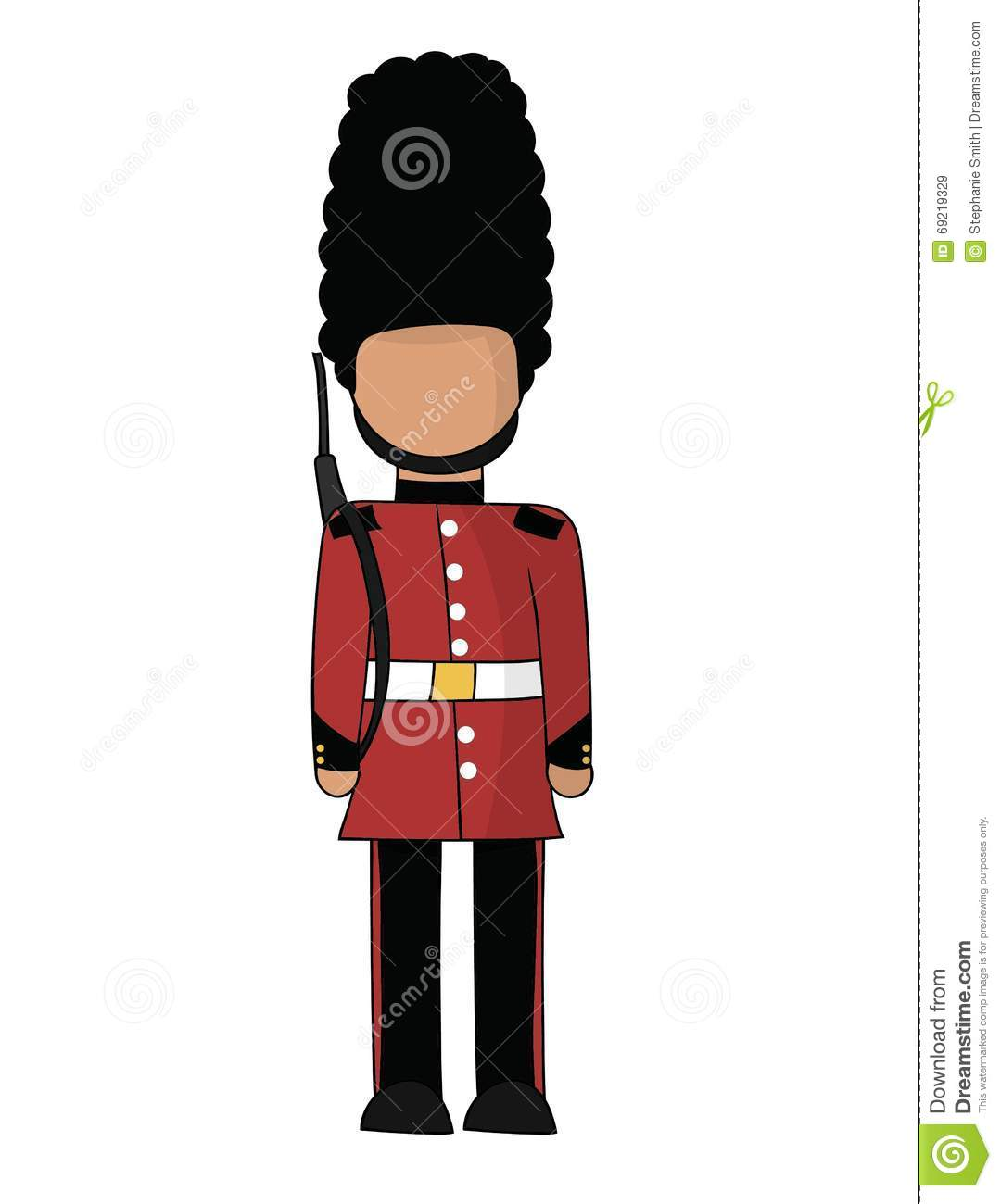 British Royal Guard in a red jacket and black hat. These types of ...